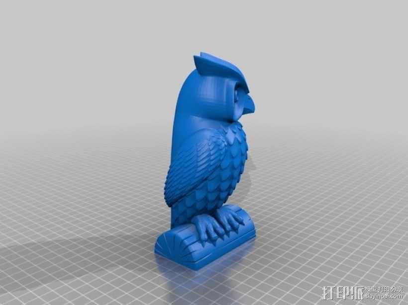 猫头鹰雕像 3D模型  图2