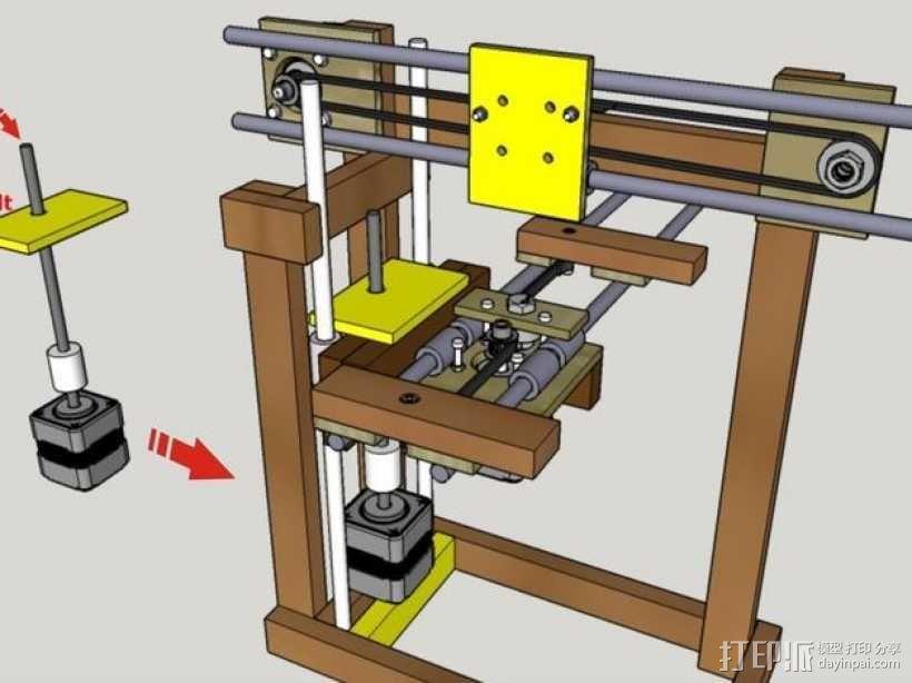 木质repstrap 3D打印机 3D模型  图17