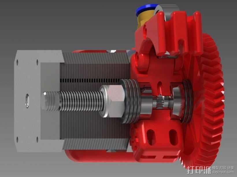 75齿轮驱动挤出机 3D模型  图1