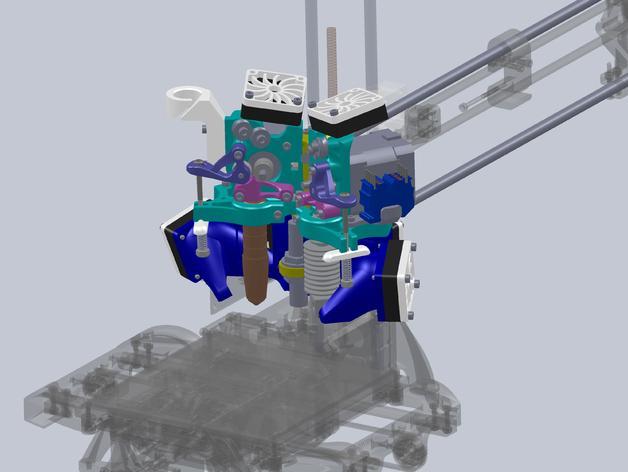 简易双挤出机 3D模型  图1