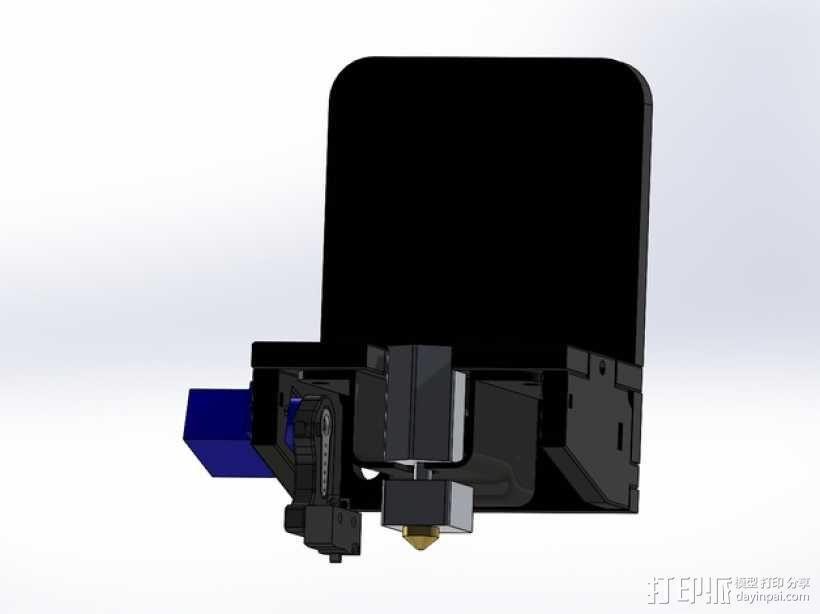 MakerFarm Prusa i3v自由床杆的Z极伺服外壳 3D模型  图6