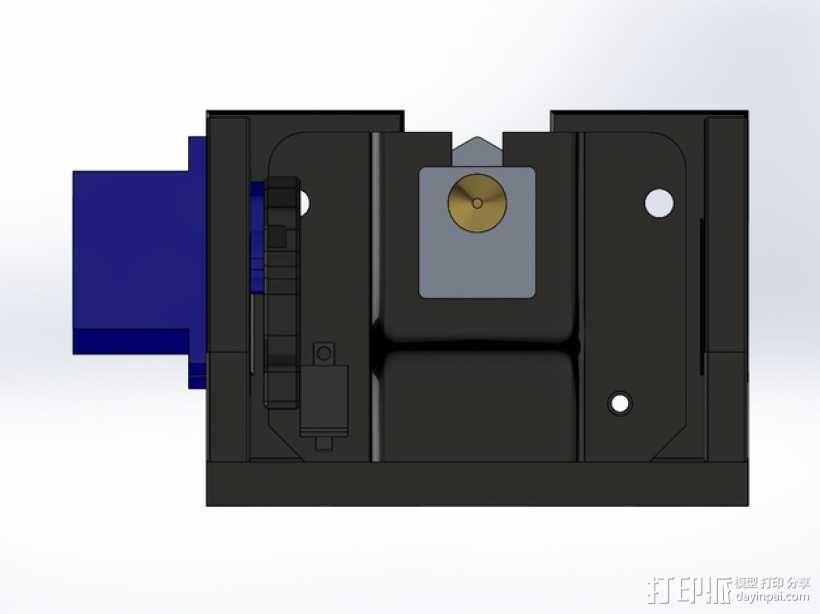MakerFarm Prusa i3v自由床杆的Z极伺服外壳 3D模型  图8