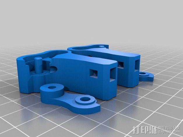 Replicator 2X的可调节挤压机驱动壳 3D模型  图7