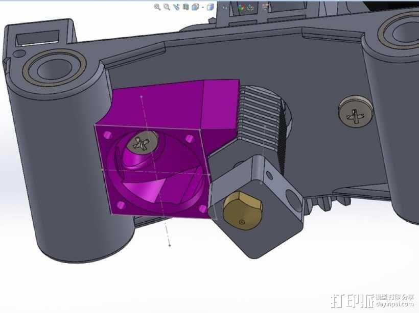 六边形锡槽热端风扇座 3D模型  图1