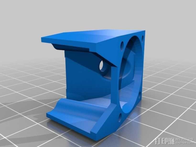 六边形锡槽热端风扇座 3D模型  图2