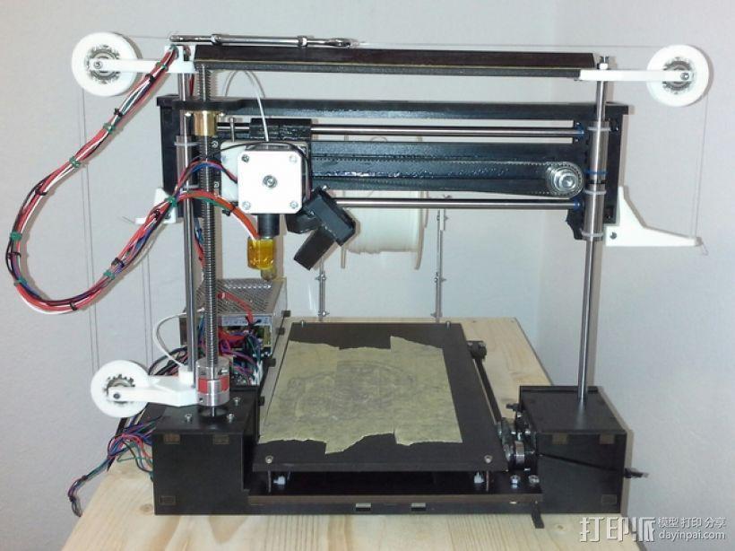 打印机滑轮滑杆套组 3D模型  图1