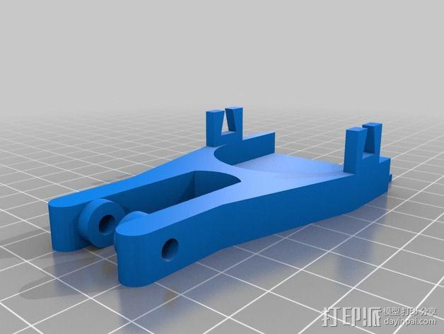 打印机滑轮滑杆套组 3D模型  图2