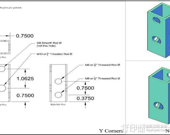 prusa i3打印机铝制框架 3D模型  图6