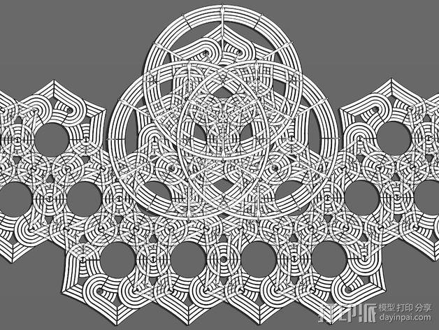 六角星透光浮雕板 3D模型  图3