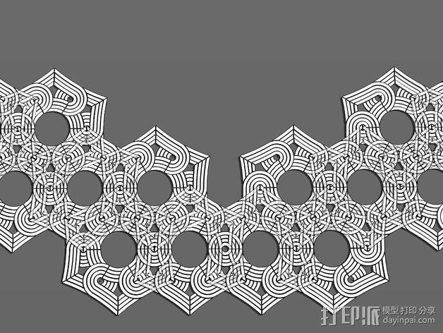 六角星透光浮雕板 3D模型  图2