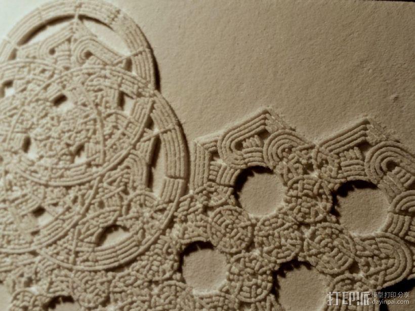 六角星透光浮雕板 3D模型  图1
