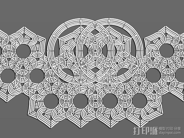 六角星透光浮雕板 3D模型  图5