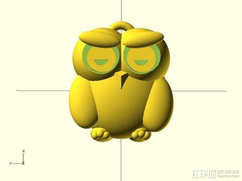 猫头鹰挂件 3D模型  图1