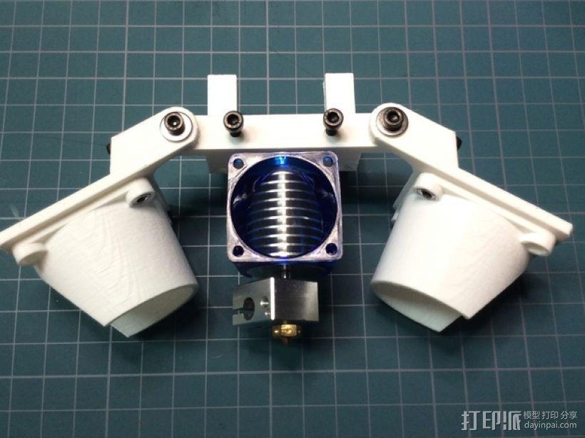 Bowden E3D V6打印机风扇 风扇座 3D模型  图1
