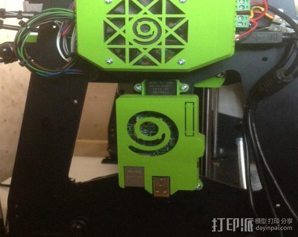 树莓派打印服务器安装座 外盒 3D模型  图2