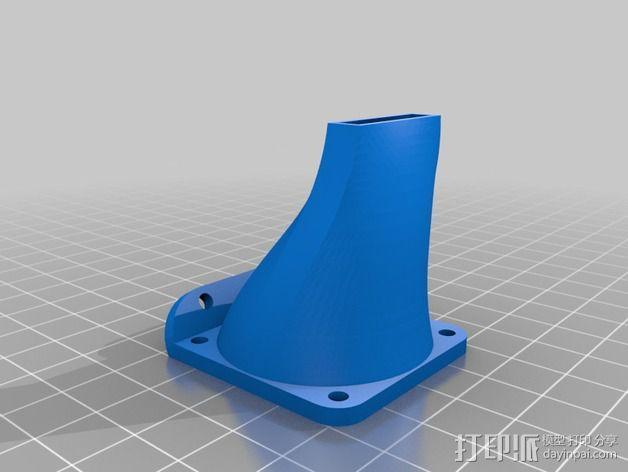 Kossel Mini 打印机J形头通风导管 3D模型  图2