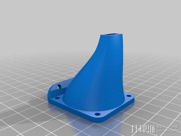 Kossel Mini 打印机J形头通风导管 3D模型  图3