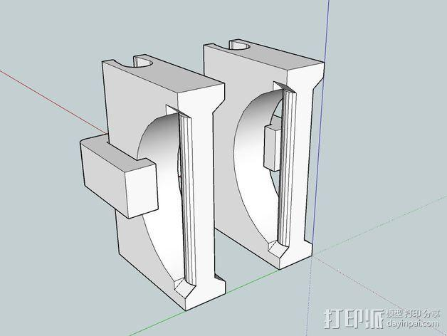 Makerbot Replicator 2(X)打印机线材导线器 3D模型  图3