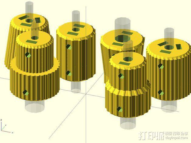 凸边齿轮旋钮 3D模型  图2