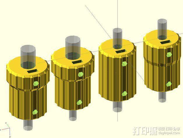 凸边齿轮旋钮 3D模型  图6