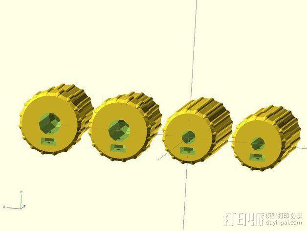 凸边齿轮旋钮 3D模型  图7