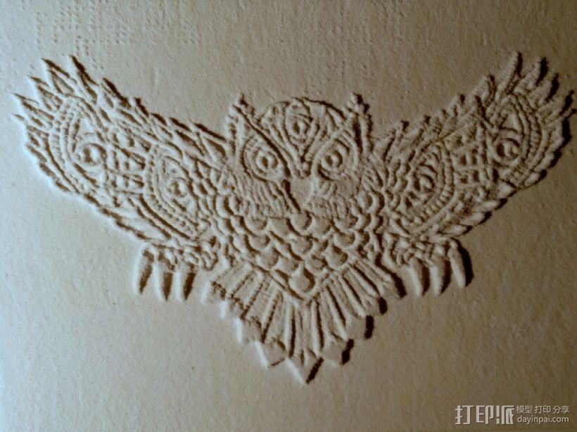 光刻 猫头鹰 3D模型  图1