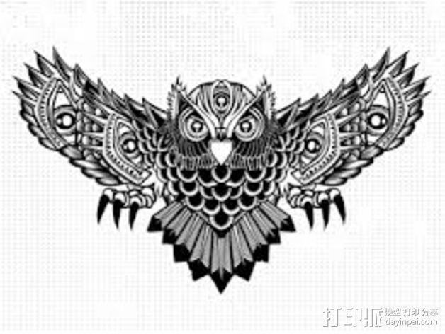 光刻 猫头鹰 3D模型  图4