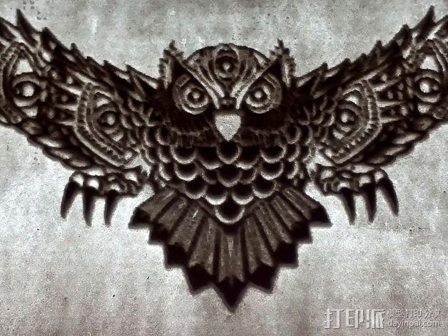 光刻 猫头鹰 3D模型  图5