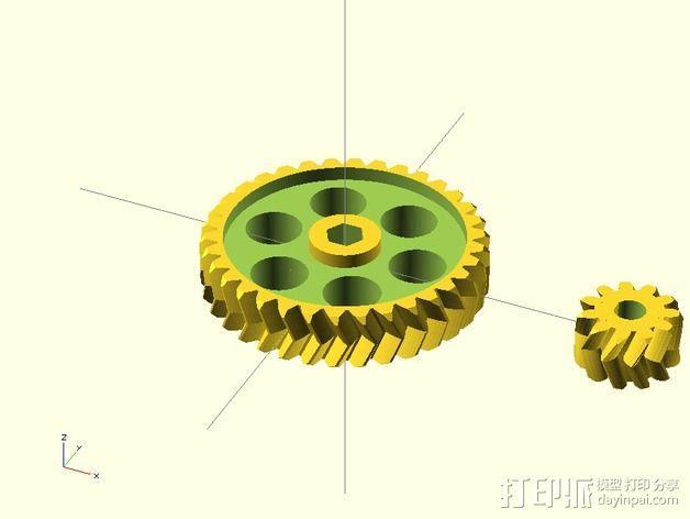 挤出机齿轮 3D模型  图2