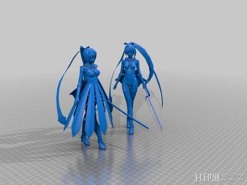 佩剑少女 3D模型  图1