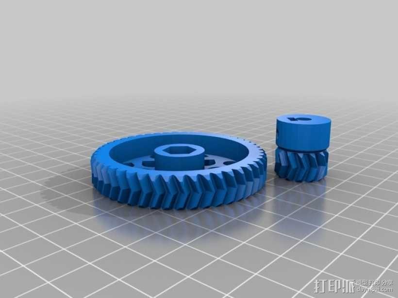 人字形齿轮挤出机 3D模型  图1