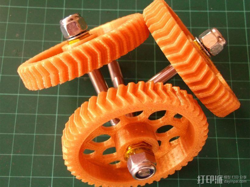 人字形齿轮挤出机 3D模型  图3
