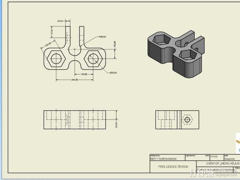 Prusa Mendel i2打印机z轴限位开关调节器 3D模型  图4
