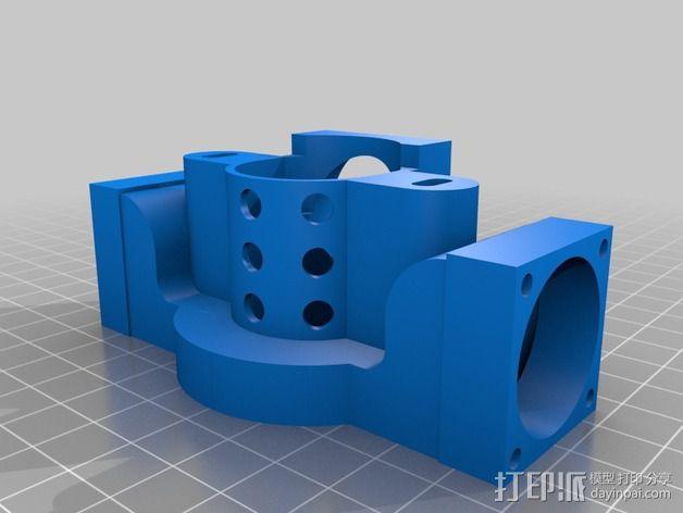 Prusa i3打印机J形头通风导管连接器 3D模型  图2