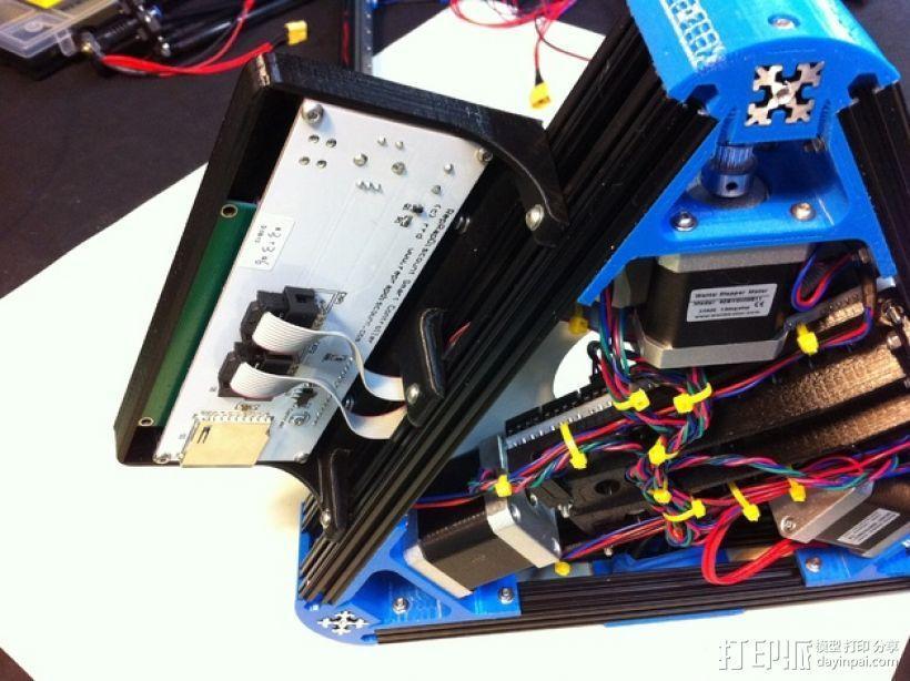 Kossel Mini打印机控制器LCD显示屏支架 3D模型  图2