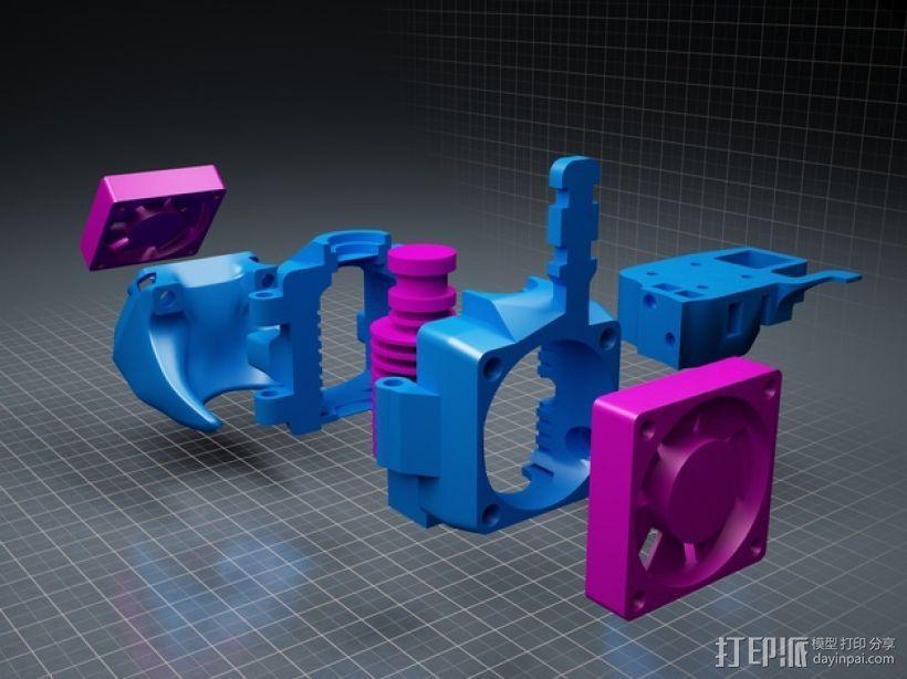 挤出机风扇 风扇导管 3D模型  图2
