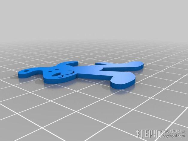 小狗钥匙扣 3D模型  图2