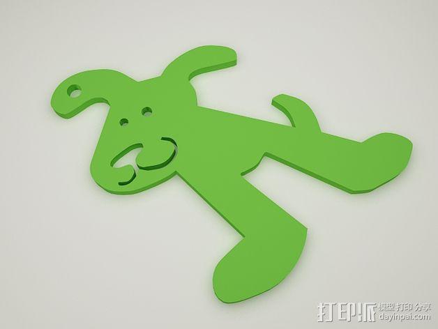 小狗钥匙扣 3D模型  图4