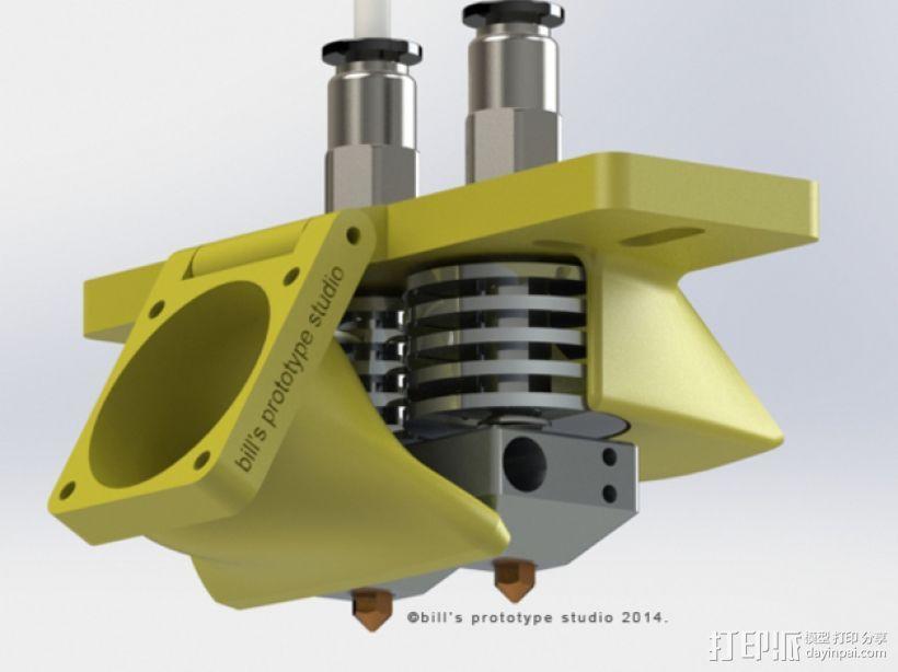 双挤出机喷头架 风扇架 3D模型  图1