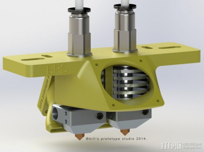 双挤出机喷头架 风扇架 3D模型  图4