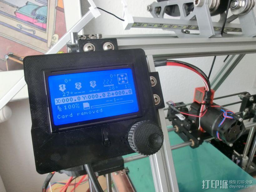 打印机智能控制器LCD显示屏保护外壳 3D模型  图1