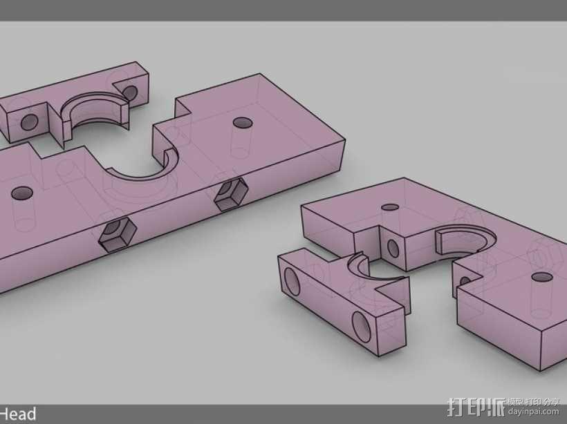 J-Head挤出机支架 3D模型  图1
