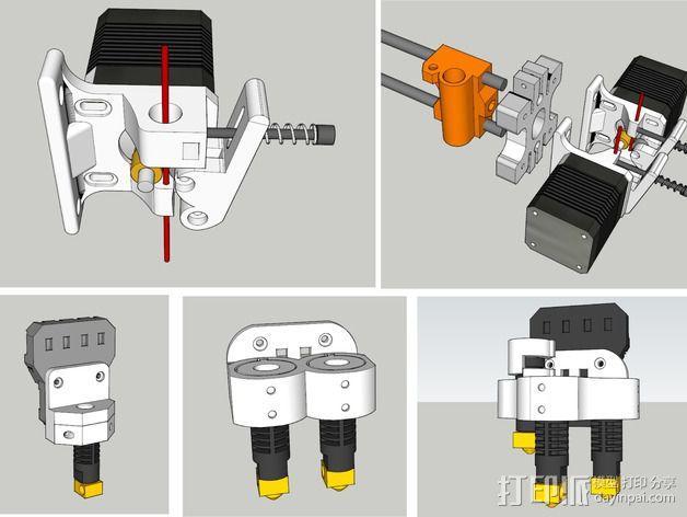 双挤出机/三喷头挤出机 3D模型  图1