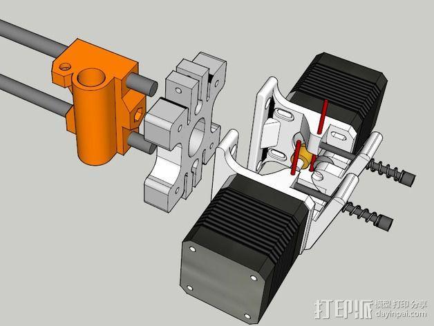 双挤出机/三喷头挤出机 3D模型  图7