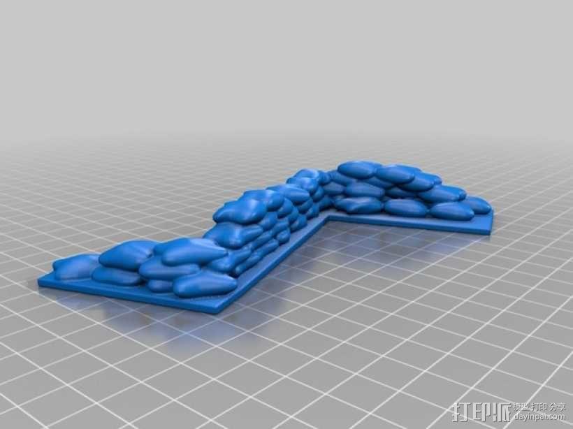 沙袋堆  沙袋墙 3D模型  图2