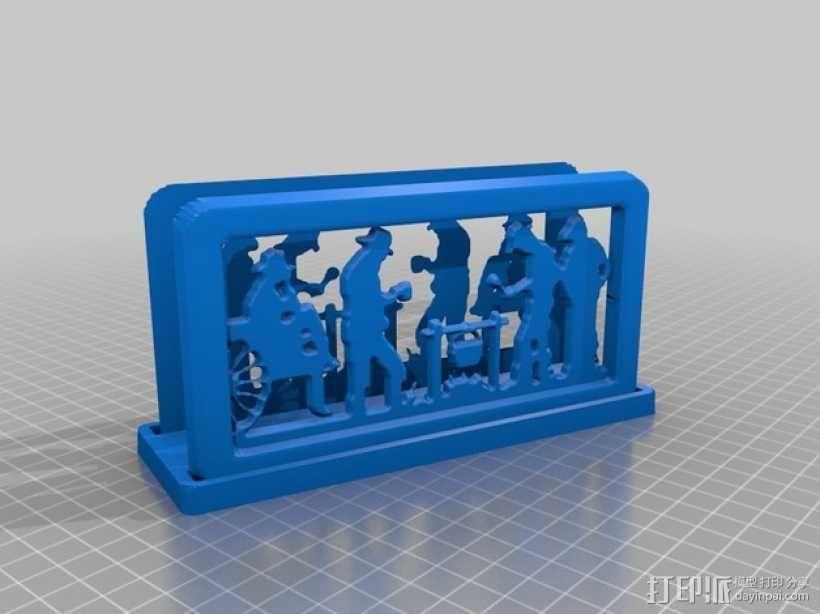 营火主题信件收纳架 3D模型  图1