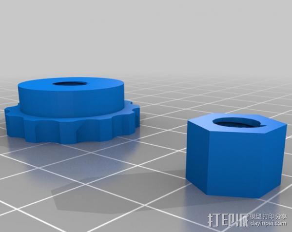 打印机螺杆旋钮 3D模型  图2