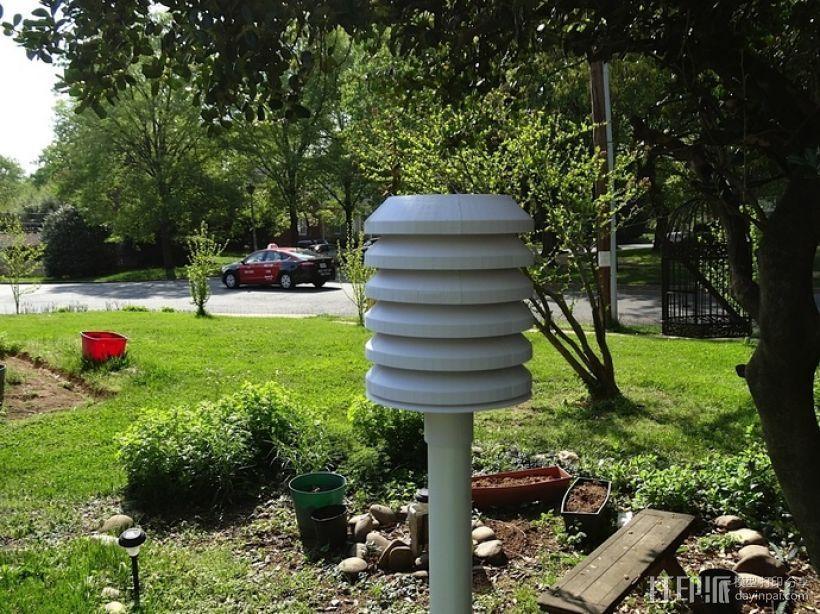 无线气象传感器百叶箱外盒 3D模型  图1