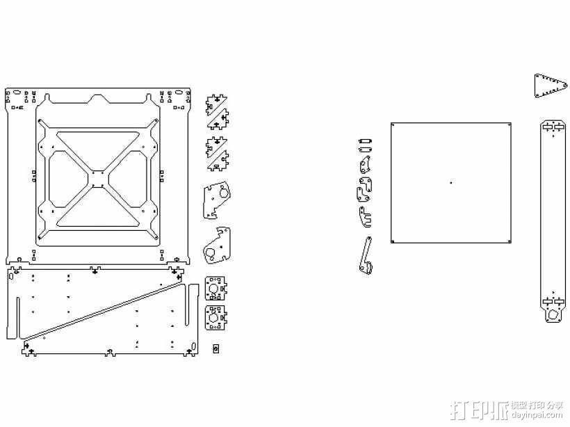 prusa i3 打印机框架 3D模型  图1