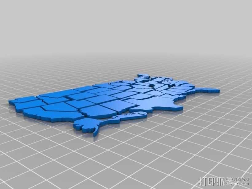 美国拼接地图 3D模型  图1